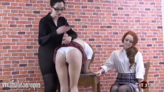 Cute naughty peachy bum schoolgirls spanking for smoking in slutty skirts