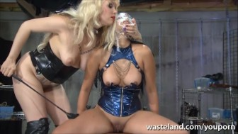 Naughty Asian slave girl wrapped in cling film brings Mistress to orgasm