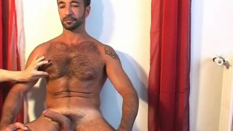 Sexy mature arab guy gets wanked his big cock by us !