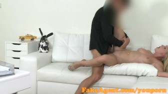 FakeAgent Blonde with amazing natural tits fucks for a job
