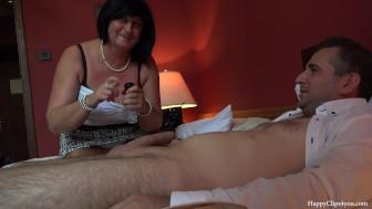 George and his friends mom taboo footjob handjob session...