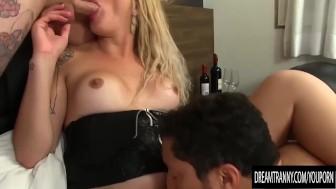 Sexy tgirl Rafaela Sanchez gets fucked by 2 guys