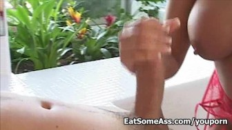 Asian hottie Jazzmine shows incredible ass slurning action