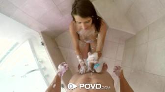 POVD - Guy enjoys soaping up Debbie Clark in the shower