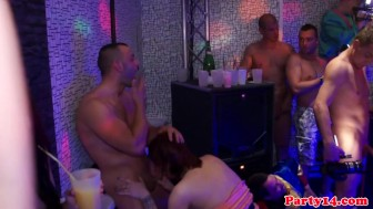Real party amateur blonde fucks dick in club
