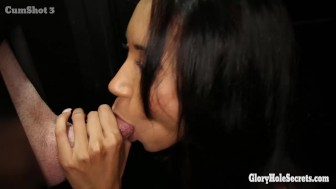 Gloryhole Secrets half black babe sucks white dick