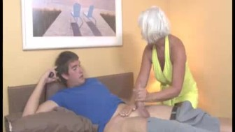 Horny Granny Gets Excited Seeing This Guy's shirt