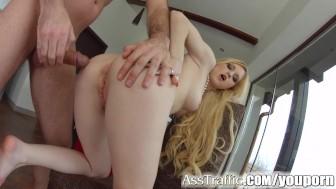 Asstraffic blonde loves anal sex in this hardcore scene