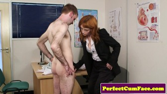 Redhead doctor gets facial