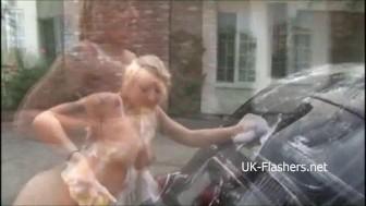 Bikini carwash of busty blonde turns into lesbian kissing and hardcore public sex