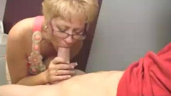 Milf Starts Touching Young Man's Boner