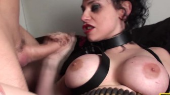 Restrained british sub fucked and facialized
