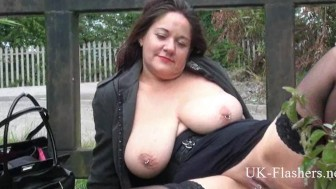 Busty mature amateur Andreas public masturbation and bbw wife flashing pussy outdoors in seethrough fishnet clothin