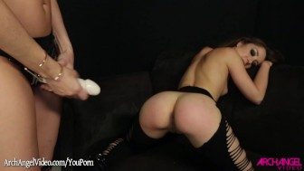 Remy Lacroix fucked hard in lesbian strapon sex
