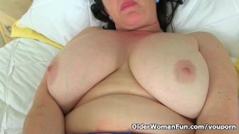 British milf Janey puts her dildos to work