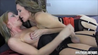 Hot blonde shemale masturbates big cock as busty Milf teases her nipples and balls