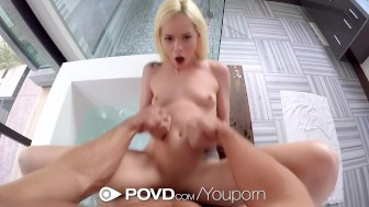POVD - Elsa Jean s holes filled in a bath for two pov style