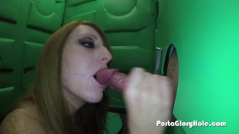 Porta Gloryhole hot redhead sucking cock from randos