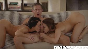 VIXEN Best friends Riley & Megan fuck neighbour in a daring threesome