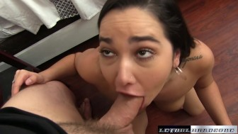 Karlee Grey wraps her big tits around dick and swallows
