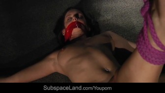 Ball gagged busty slave disciplined on the spankings horse