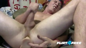 Blond Hunk Gets Off While Sliding a Huge Dildo in His Ass