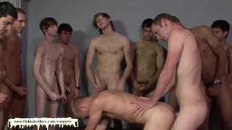 Getting his boyfriend shared with a lot of horny boys - Bukkake Boys
