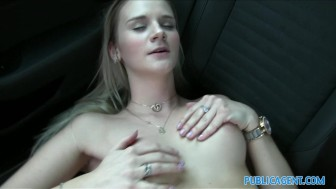 Public Agent Tight pussy fucked in a car