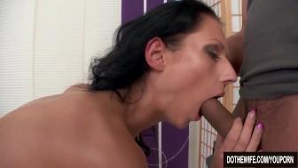 Hot brunette wife fucks in front of her husband