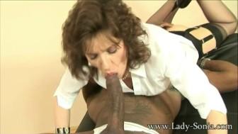 Lady Sonia sucks off big black stud cock