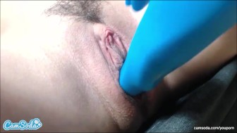 abigail mac trying to squirt with dildo massage and anal vibrator in close up webcam session