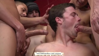 Twink is on his knees getting fucked and cum covered