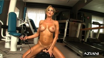 Sexy blonde milf rides Sybian and cums