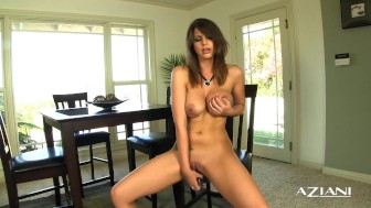 Sexy big boobed girl finger bangs her wet pussy