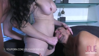 Threesome with squirting girl, guy and big ass shemale!