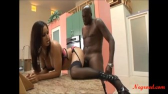 skinny black hair slut with big copy tits fucked big black cock and cum n face