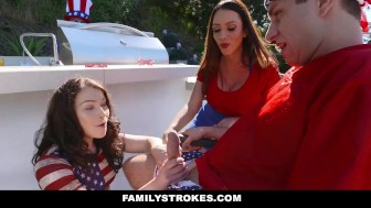 FamilyStrokes - Sexy Milf Fucks Step-Son During Family Bbq