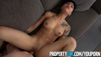 PropertySex - Hot petite tenant late on rent fucks her landlord