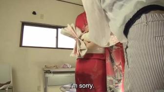 Subtitled Japanese kimono pee desperation failure in HD