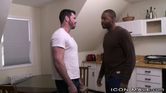 Str8 Ebony Hunk Cheats with Billy Santoro's Cock in Ass