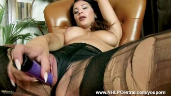 Brunette Roxy Mendez rips open thigh high looking black nylon pantyhose and satin panties plays toys her juicy pussy