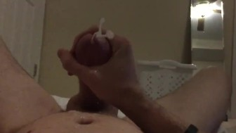 Cumming on myself from my big horny dick in slow motion