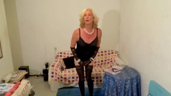 blond sexy KittyTranny is doing very seductive