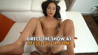Small titted girl plays with a huge dick - Nataly Gold