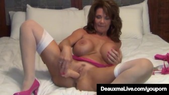 Busty Milf Deauxma Uses 4 inch Anal Plug & Dildo To Squirt!